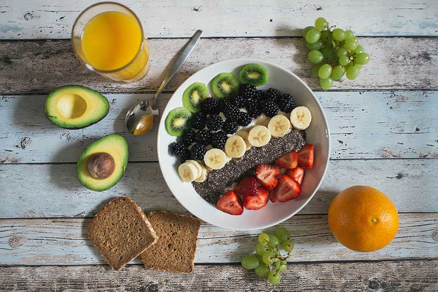 fruit berries avacado bread orange juice