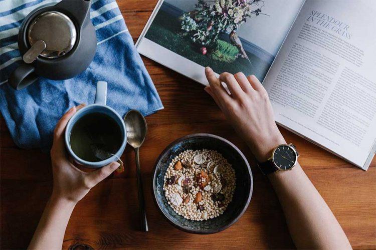 breakfast cereal tea and magazine