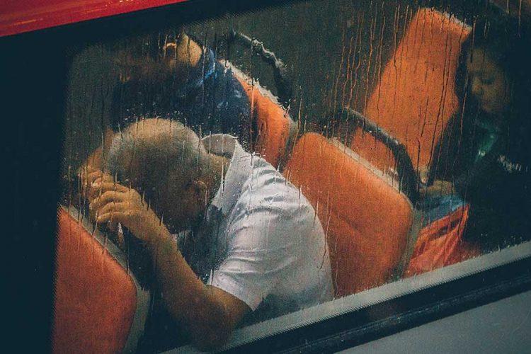 stressed people on bus