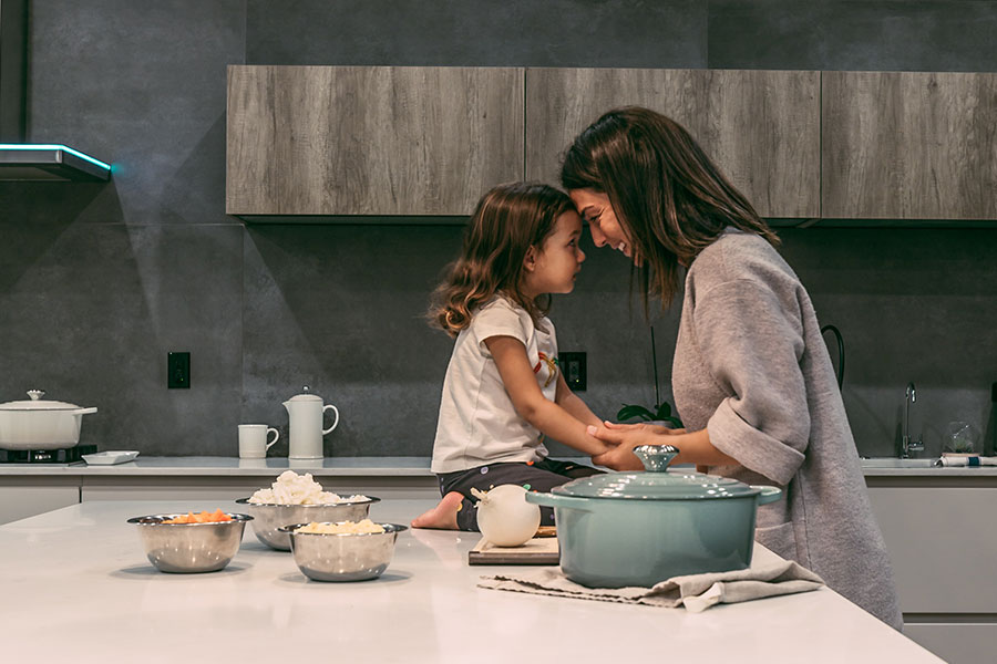 mom and daughter connecting over food